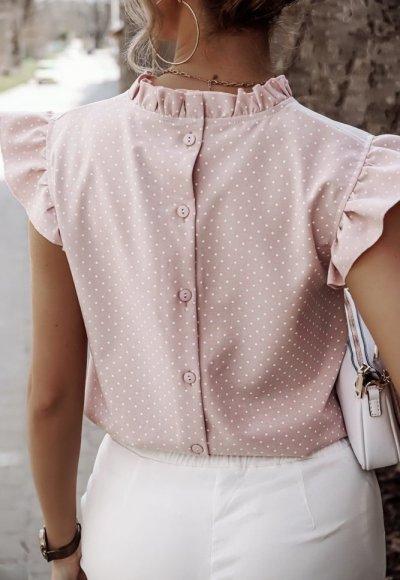 Koszula LILU różowa w kropeczki 1