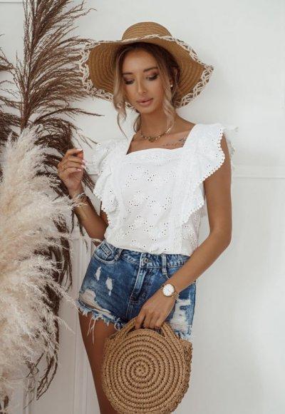 Bluzka ARI biała haftowana