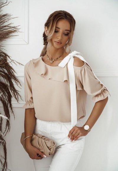 Bluzka SERENA beżowa z wiązaniem na ramieniu