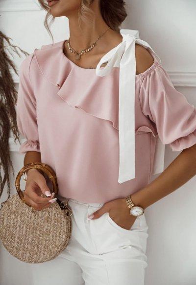 Bluzka SERENA różowa z wiązaniem na ramieniu