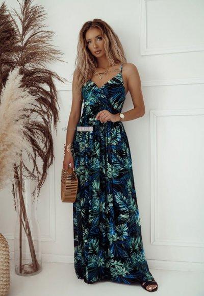 Sukienka SARA czarna w niebieskie liście