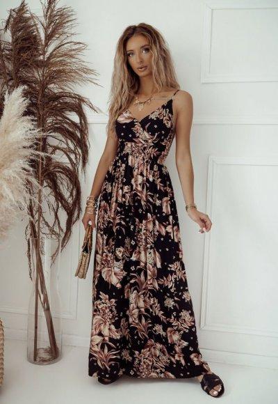 Sukienka SARA czarna w złote kwiaty