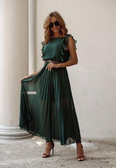 Sukienka BUTTERFLY zieleń butelkowa 7