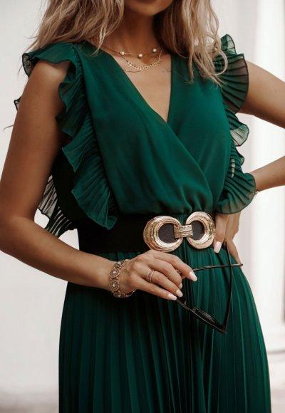 Sukienka BUTTERFLY zieleń butelkowa 4
