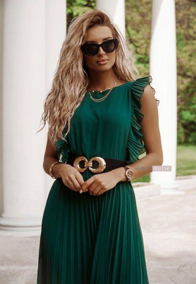 Sukienka BUTTERFLY zieleń butelkowa 3