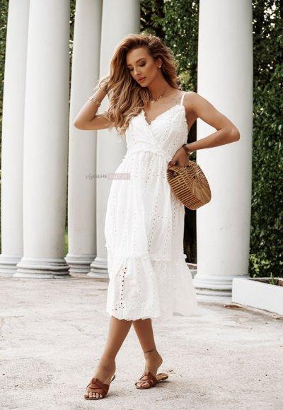 Sukienka BELMONDO biała haftowana