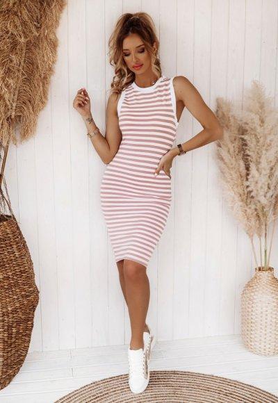 Sukienka BASIC STRIPES w różowe paski