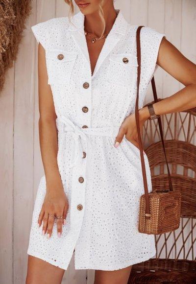 Sukienka IDAHO biała haftowana