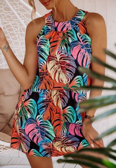 Sukienka TURQUOISE w kolorowe liście