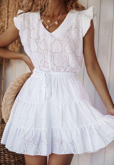 Sukienka JULIA II biała haftowana