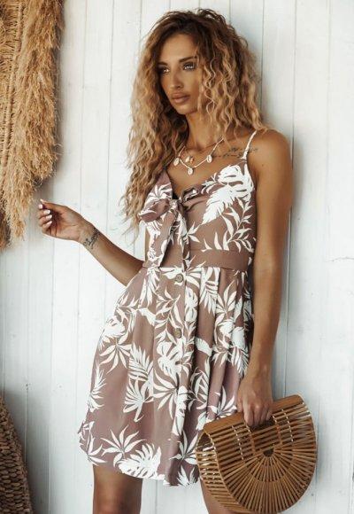 Sukienka SUNNY w tropikalny print