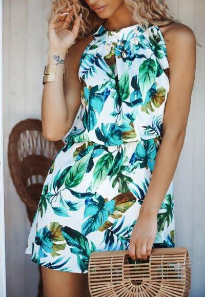Sukienka ALANYA w zielone liście