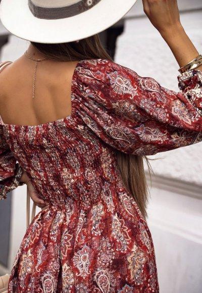 Bordowa sukienka IDAHO FALLS w aztecki wzór