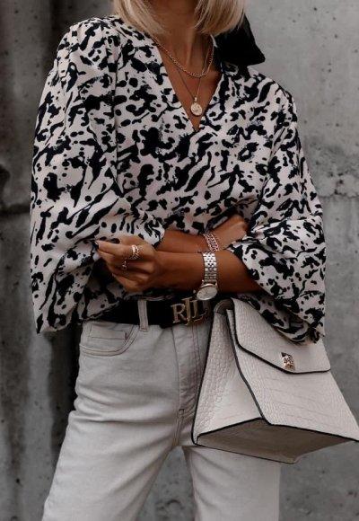Bluzka EVIA beżowa w czarne wzorki