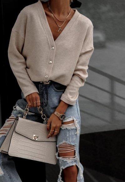 Sweter BALEO jasny beż