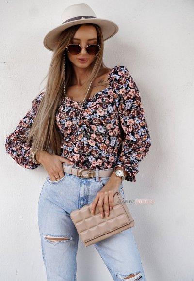Bluzka MILUNA w kolorowe kwiatuszki