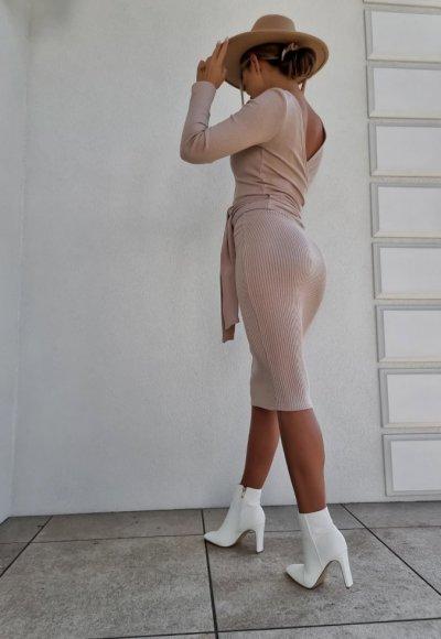 Bluzka wiązana MELROSE beżowa 2