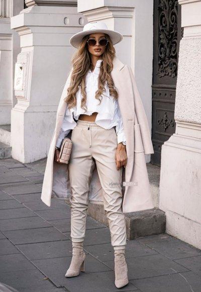 Jasnobeżowe skórzane spodnie COUTURE 1