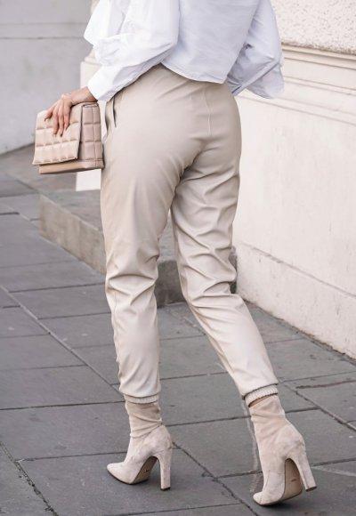 Jasnobeżowe skórzane spodnie COUTURE 2