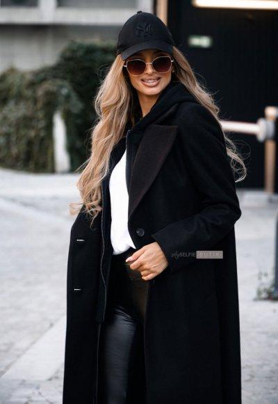 Płaszcz z kapturem NEW YORK czarny 1