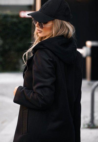 Płaszcz z kapturem NEW YORK czarny 3