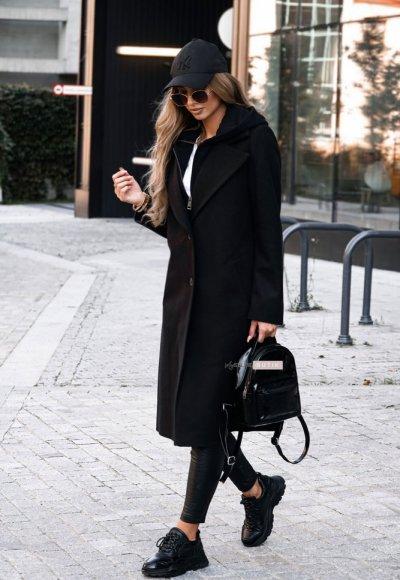 Płaszcz z kapturem NEW YORK czarny 4