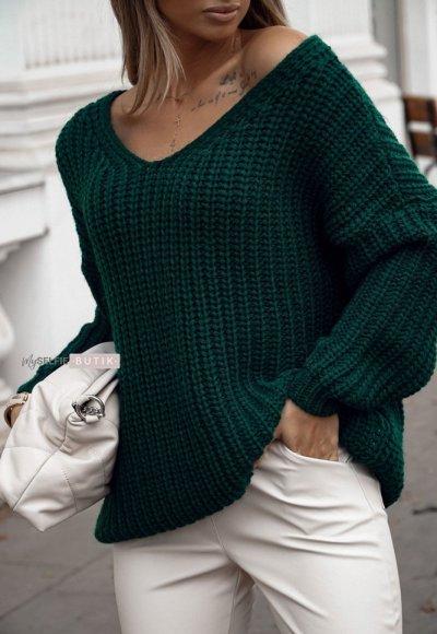Sweter DION butelkowa zieleń