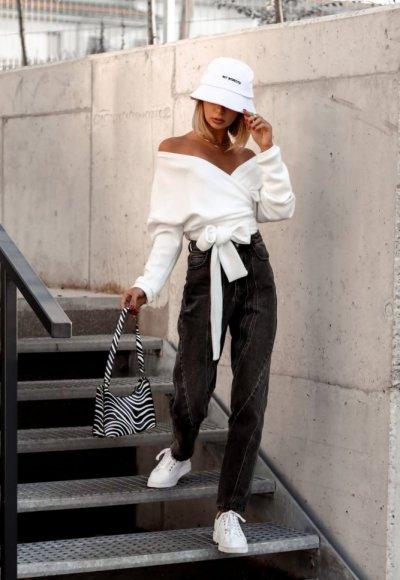 Sweter wiązany TOMMY biały