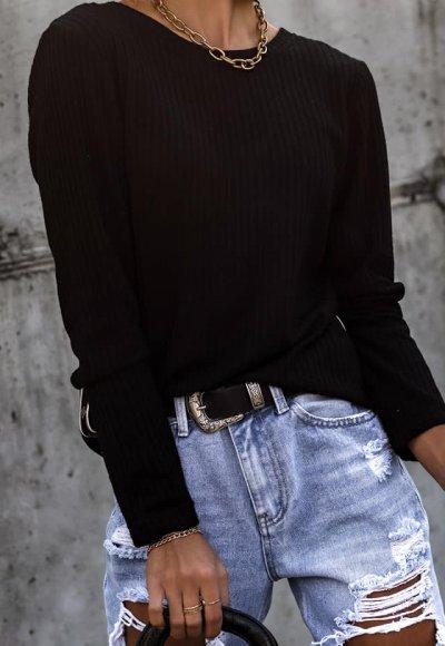 Bluzka dzianinowa DUO czarna z lampasem 3