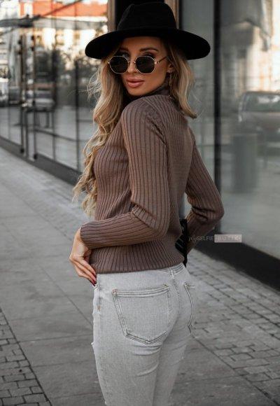 Sweter z golfem CORNEL cappuccino 1