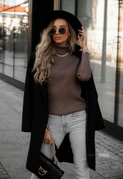 Sweter z golfem CORNEL cappuccino 2