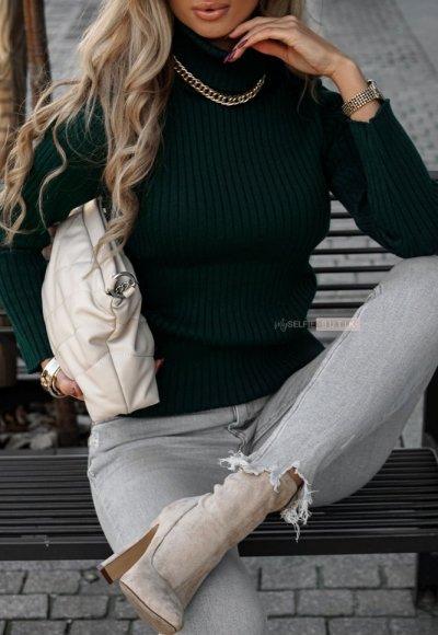 Sweter z golfem CORNEL zielony 1