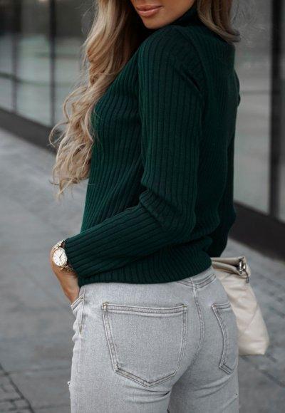 Sweter z golfem CORNEL zielony 2