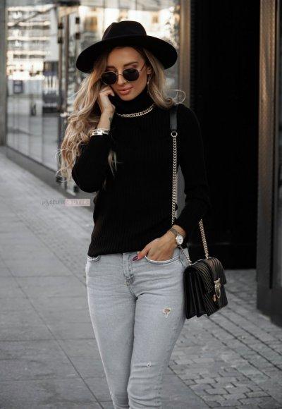 Sweter z golfem CORNEL czarny 2