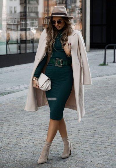 Sukienka z golfem ALESSIA zieleń butelkowa 1