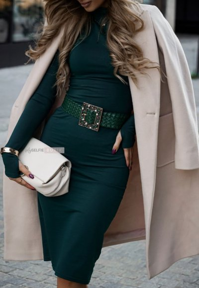 Sukienka z golfem ALESSIA zieleń butelkowa 2