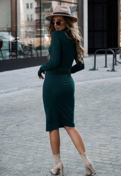 Sukienka z golfem ALESSIA zieleń butelkowa 3